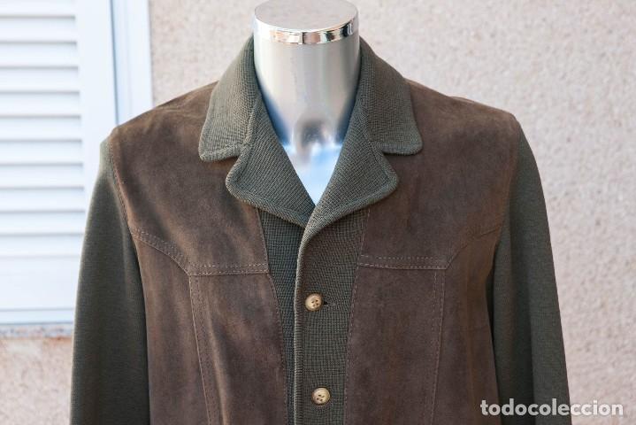 CHAQUETA HOMBRE, LANA 100% Y PIEL NATURAL ANTE. LEATHER. AÑOS 70 (Vintage - Moda - Hombre)