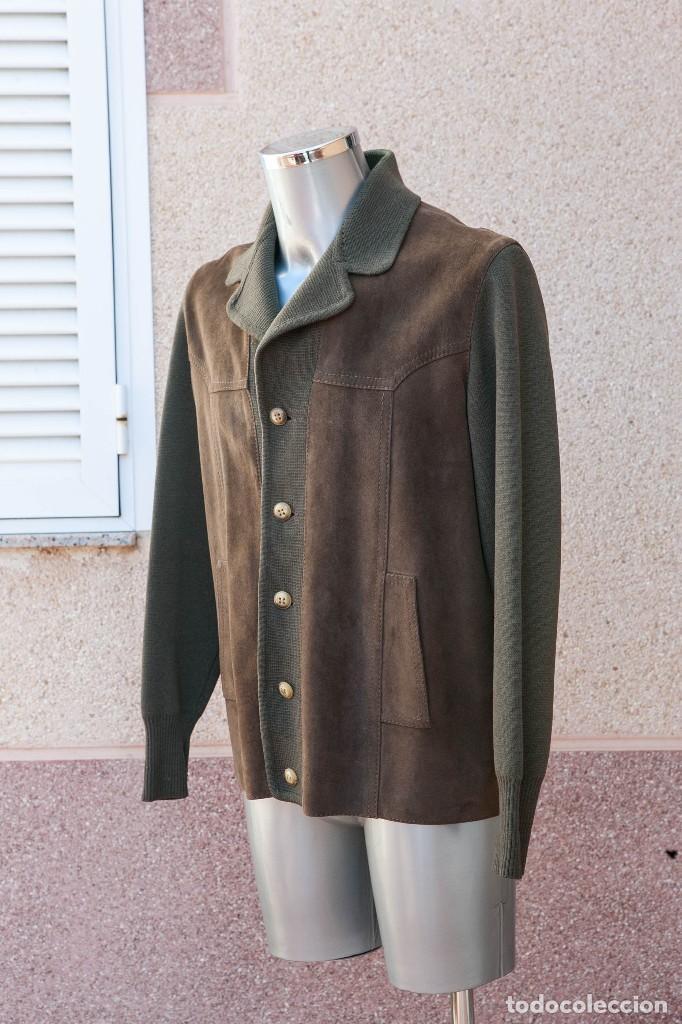Vintage: CHAQUETA HOMBRE, LANA 100% Y PIEL NATURAL ANTE. LEATHER. AÑOS 70 - Foto 7 - 109201323