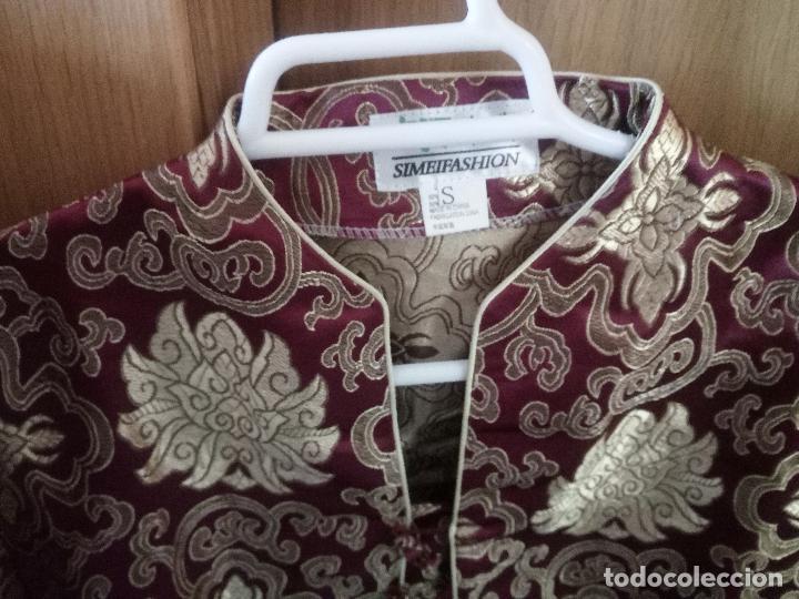 Vintage: CAMISA DE MUJER TRAIDA DE CHINA - TALLA S - COLOR GRANATE Y DORADO - Foto 4 - 110177243