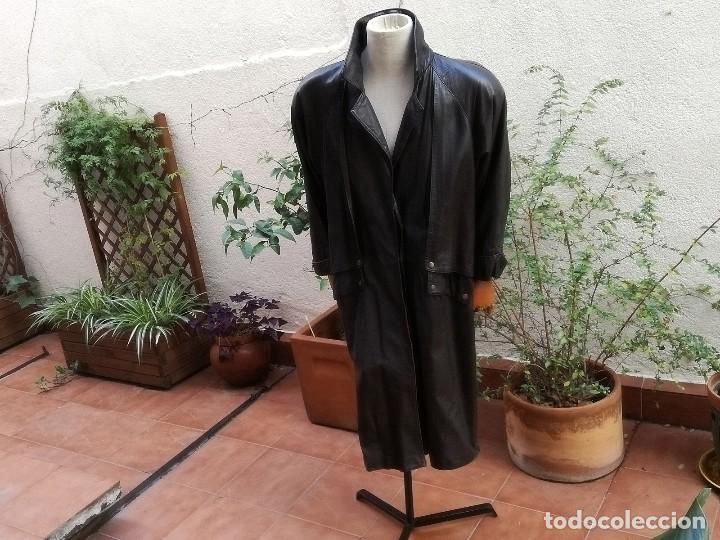 Abrigo de cuero vintage, usado segunda mano