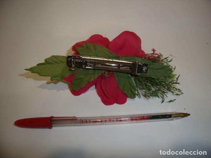 Vintage: Pasador pelo prendedor flor rosa, años 80, Nuevo. - Foto 2 - 113775371