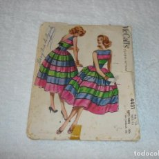 Vintage: ANTIGUO PATRON ORIGINAL DE COSTURA MCCALL´S: VESTIDO 4431 - PATTERN. MADE IN USA 1958. COMPLETO. Lote 115924531