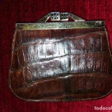 Vintage: MONEDERO PIEL COCODRILO MARRON.. Lote 116997967