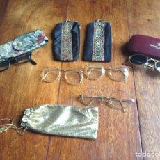 Vintage: CINCO GAFAS ANTIGUAS AÑOS 60-70-80 Y REGALO FUNDAS. Lote 118712914