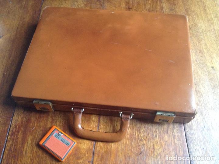 Vintage: Maletin ejecutivo rígido en madera y piel años 80 y regalo - Foto 2 - 118726054