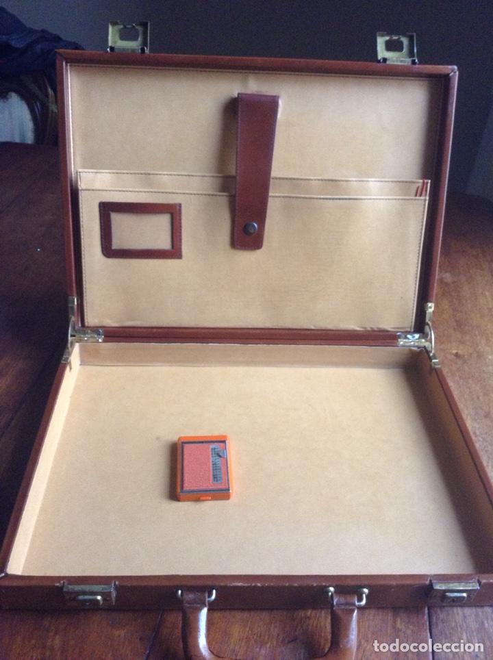 Vintage: Maletin ejecutivo rígido en madera y piel años 80 y regalo - Foto 3 - 118726054