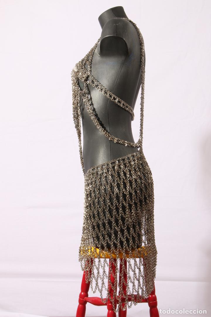 Vintage: Vestido único 100% artesanal confeccionado con pequeñas arandelas de acero. Talla 40-42 - Foto 6 - 119128103