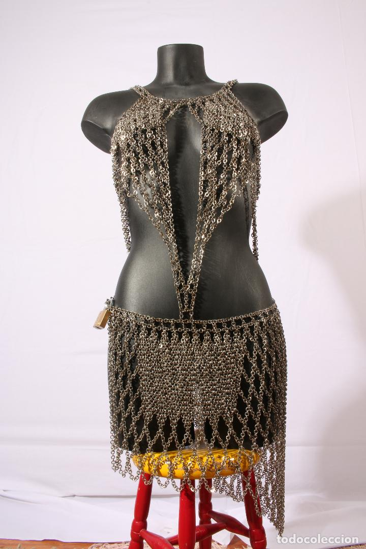 Vintage: Vestido único 100% artesanal confeccionado con pequeñas arandelas de acero. Talla 40-42 - Foto 17 - 119128103