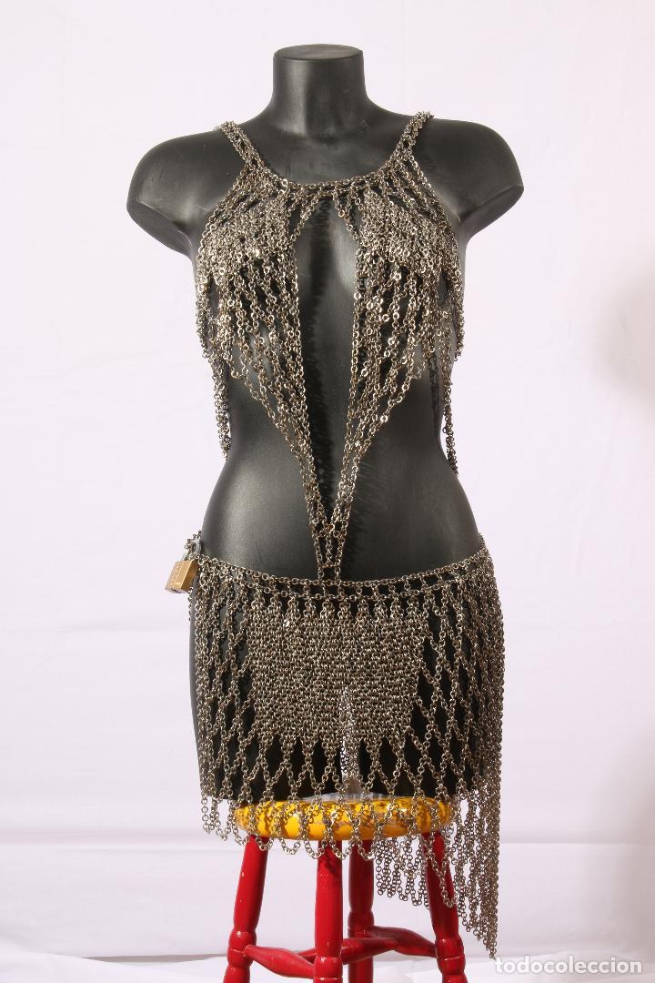 Vintage: Vestido único 100% artesanal confeccionado con pequeñas arandelas de acero. Talla 40-42 - Foto 18 - 119128103