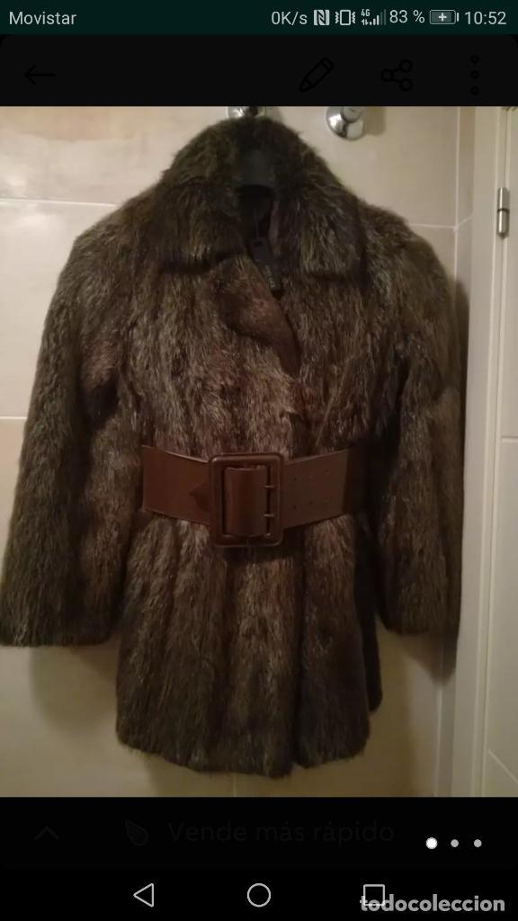 abrigo de piel espectacular juvenil talla M con cinturon segunda mano