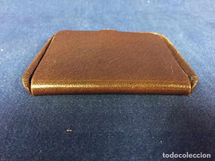 Vintage: cartera billetero monedero piel marrón cierre automático pequeño tamaño - Foto 3 - 125400787