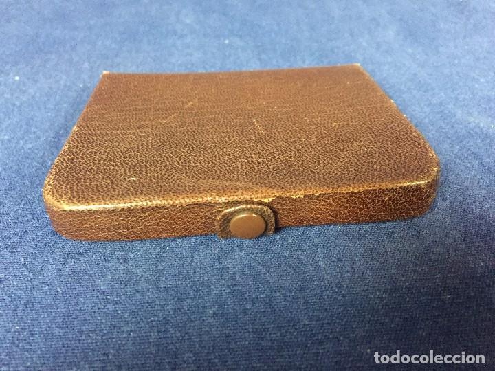 Vintage: cartera billetero monedero piel marrón cierre automático pequeño tamaño - Foto 5 - 125400787