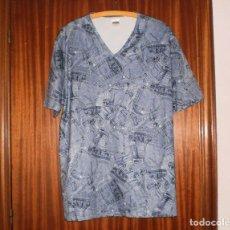Vintage: BLUSA AZUL CON DIBUJOS TEJANOS ANGELO LITRICO TALLA XXL. AÑOS 1990-2000. MUY POCO USO.. Lote 127562807