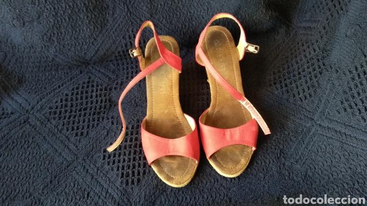SANDALIAS DE PIEL ROJAS (Vintage - Moda - Mujer)