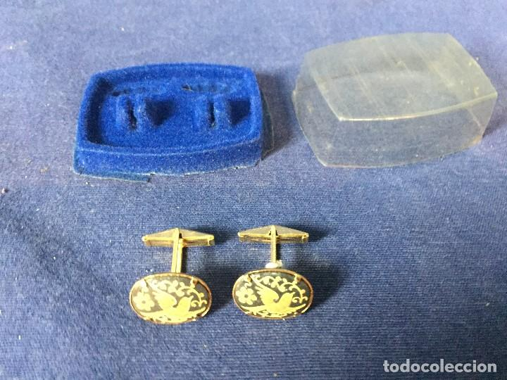 Vintage: GEMELOS DAMASQUINADO AVES TOLEDO ORO AÑOS 70 CON CAJA 2X5X6,5CMS - Foto 4 - 131038876