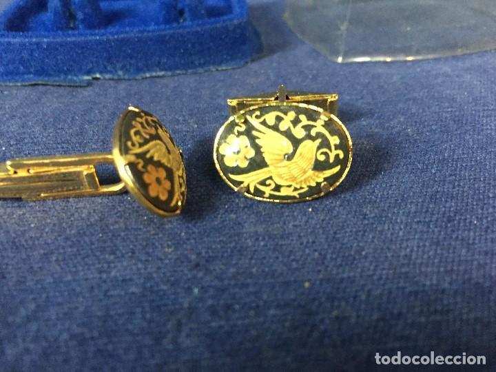 Vintage: GEMELOS DAMASQUINADO AVES TOLEDO ORO AÑOS 70 CON CAJA 2X5X6,5CMS - Foto 9 - 131038876