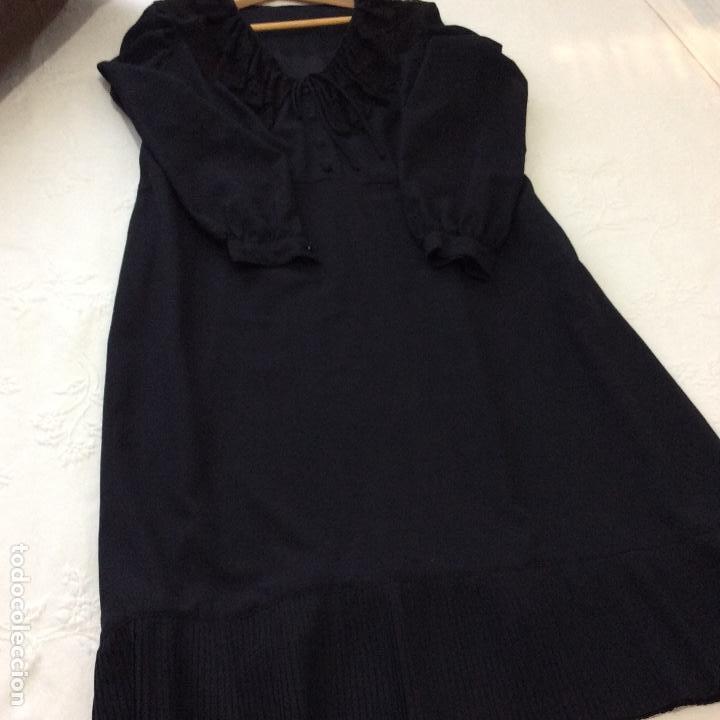 Vintage: Vestido negro con el cuello de espectacular encaje y volante plisado abajo - Foto 8 - 135596250