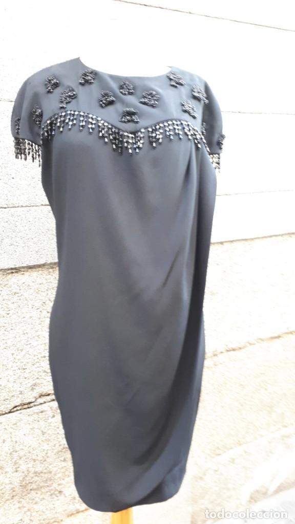 VESTIDO AÑOS 80 NEGRO (Vintage - Moda - Mujer)