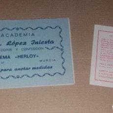 Vintage: MODA VINTAGE. LIBRETA DE MEDIDAS ACADEMIA CORTE CONFECCIÓN DE MURCIA. Y LISTA DE PRECIOS DE MÉTODOS. Lote 140609934