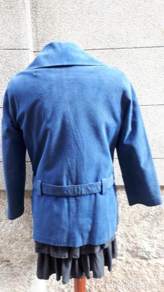 Vintage: CHAQUETA ANTE CRUZADA AZUL ELÉCTRICO AÑOS 70 - Foto 4 - 140749030