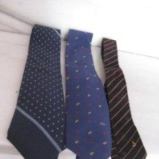 Vintage: LOTE DE 3 CORBATAS SEDA Y PIEL. LANVIN, DUPONT.. Lote 143247834