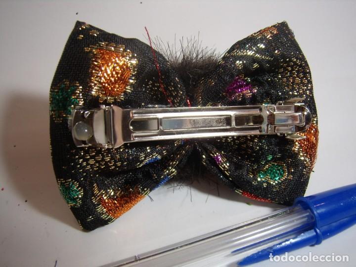 Vintage: Pasador pelo prendedor lazo tela, visón, vintage, años 80, Nuevo sin usar. - Foto 3 - 146860734