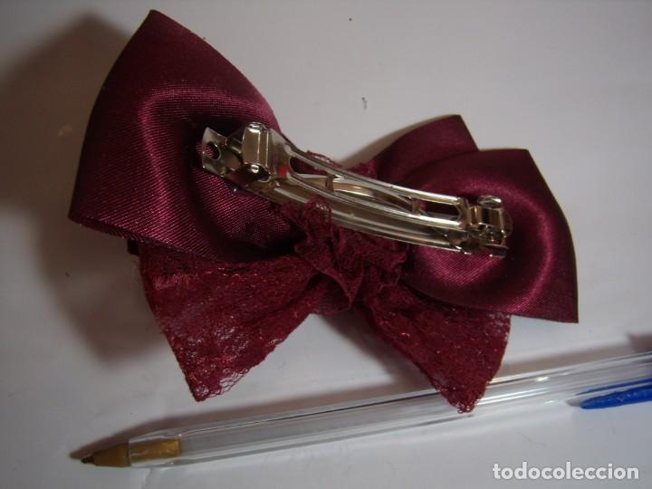Vintage: Pasador pelo prendedor lazo tela granate, vintage, años 80, Nuevo sin usar. - Foto 2 - 146925690