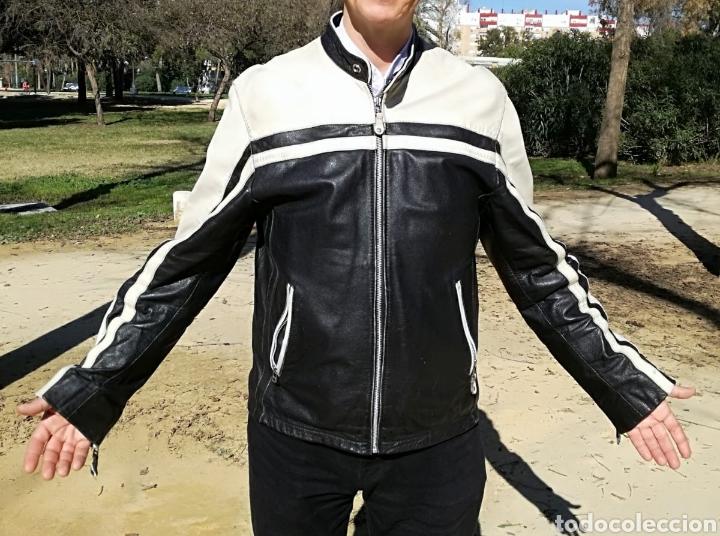 NO OFERTAS ! MAGNIFICA CHAQUETA ALEMANA CUERO LEGÍTIMO MOTO. PORTES INCLUIDOS (Vintage - Moda - Hombre)