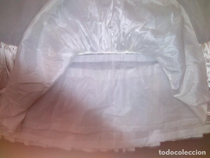 Vintage: Cancan de vestido de novia, tejido blanco artificial, elástico en la cintura, volante de raso. - Foto 4 - 155033334
