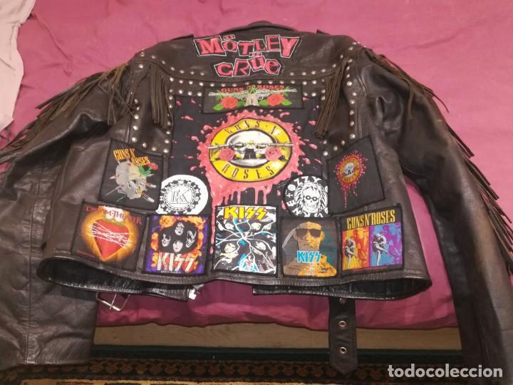Vintage: Chaqueta cuero flecos con parches heavy metal Motley Crüe, kiss, ozzy, guns - Foto 3 - 156507786