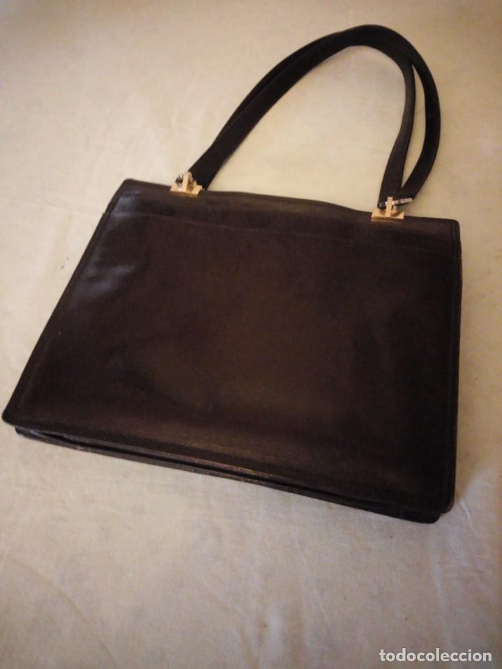 Vintage: bolso de piel marrón oscuro nannini firenze vintage,años 50/60 - Foto 2 - 158156990