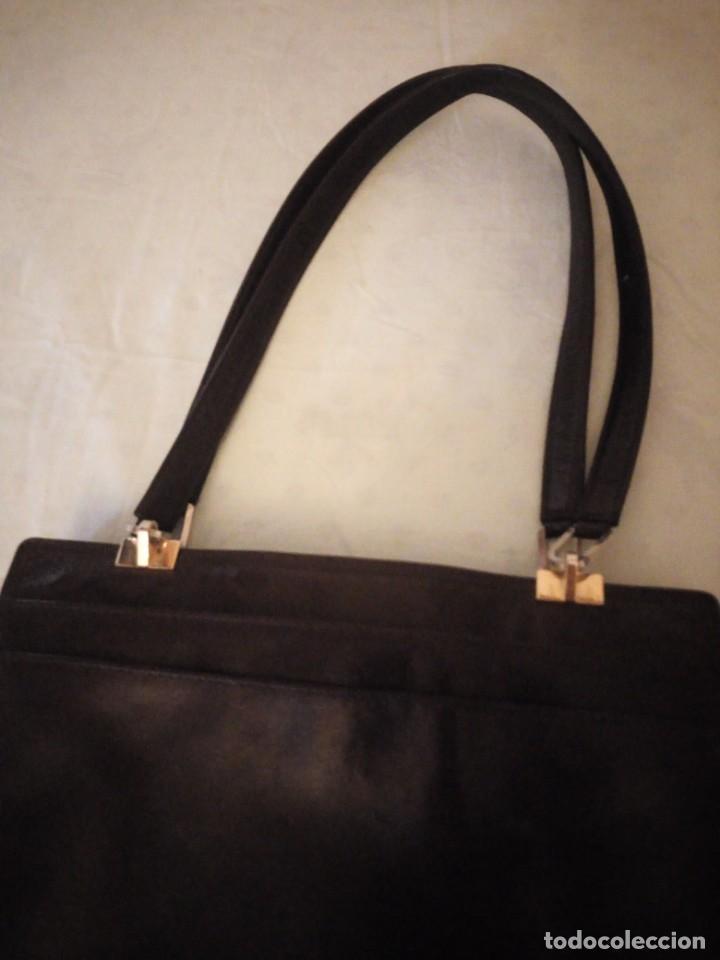 Vintage: bolso de piel marrón oscuro nannini firenze vintage,años 50/60 - Foto 3 - 158156990