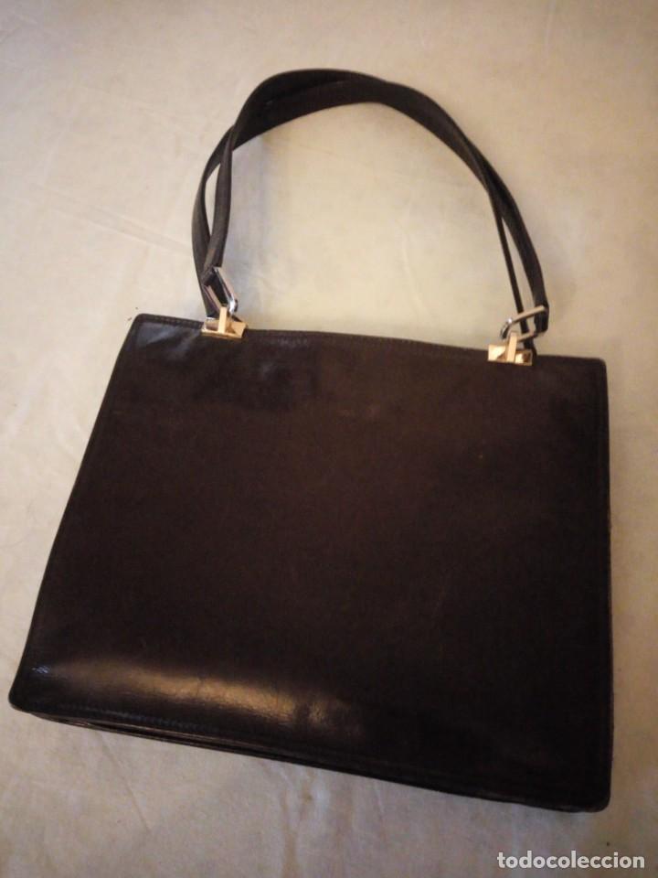 Vintage: bolso de piel marrón oscuro nannini firenze vintage,años 50/60 - Foto 4 - 158156990