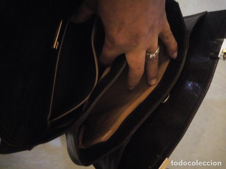 Vintage: bolso de piel marrón oscuro nannini firenze vintage,años 50/60 - Foto 7 - 158156990