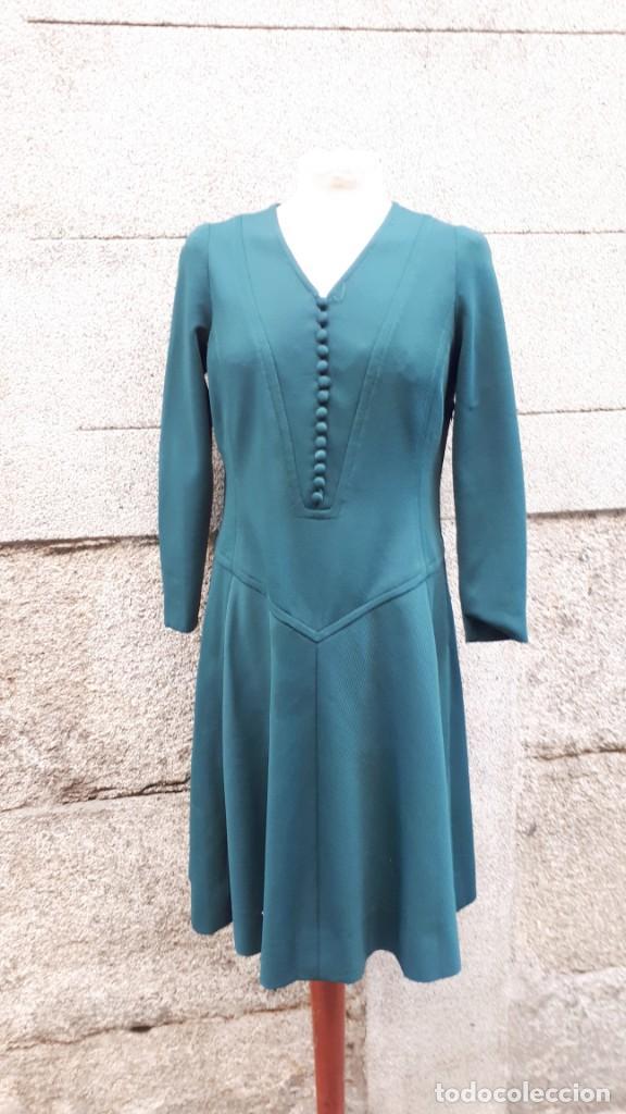 Vestido Verde Botella Años 70 Hecho A Medida
