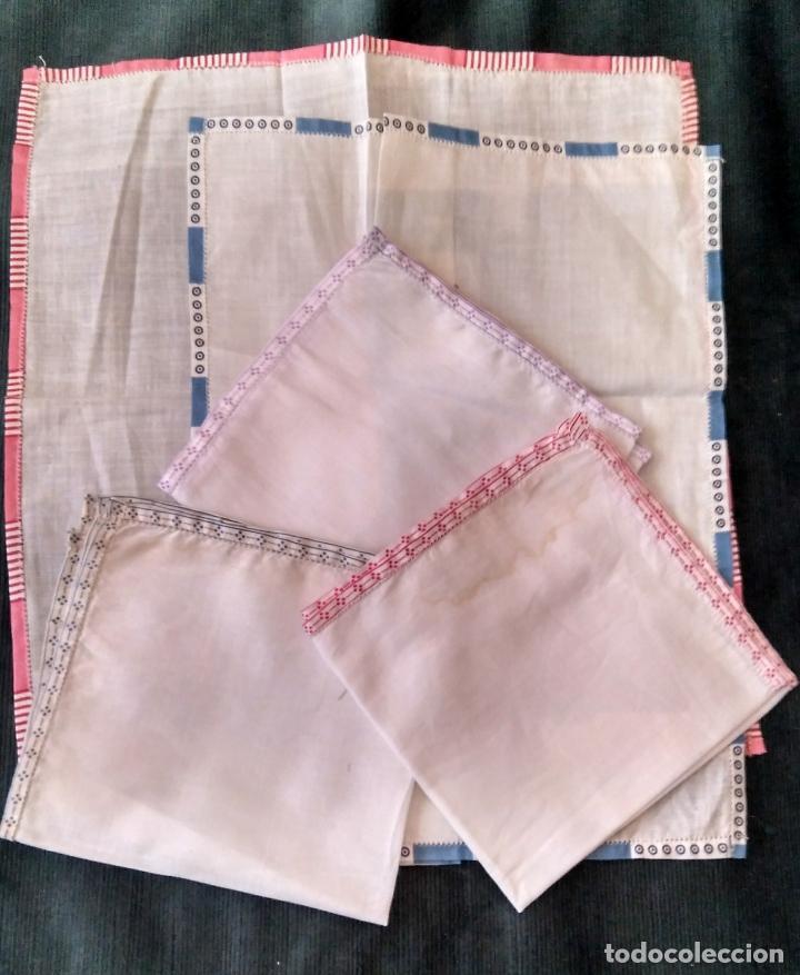 Vintage: Cinco pañuelos de bolsillo algodón !ª mitad siglo XX sin uso 30 cm lado - Foto 2 - 160894834