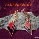 Vintage: PENDIENTES ESTILO OCHENTERO - REALIZADOS EN BRONCE,COLGANTES: 7 CENTIMETROS.. Lote 165499446