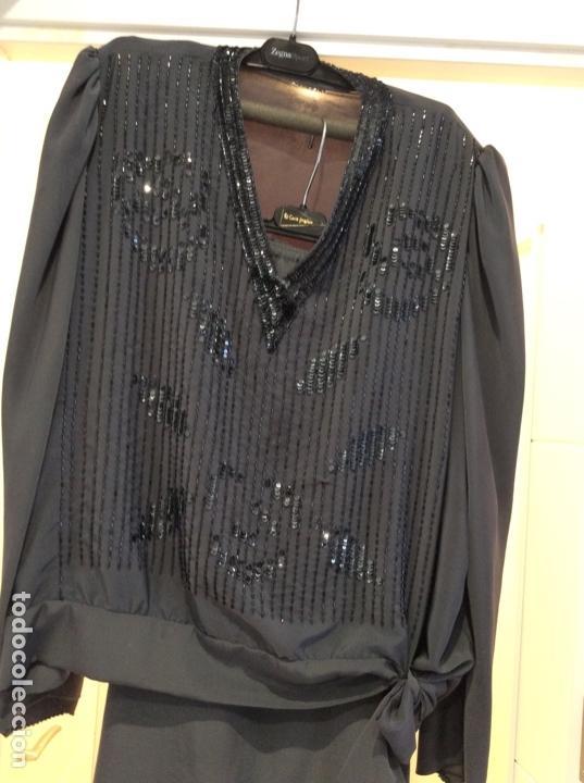 Vintage: Precioso traje dos piezas de seda bordado con lentejuelas y paillets. Años 80 - Foto 3 - 124232927