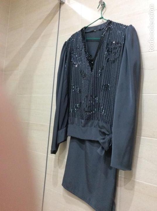 Vintage: Precioso traje dos piezas de seda bordado con lentejuelas y paillets. Años 80 - Foto 6 - 124232927