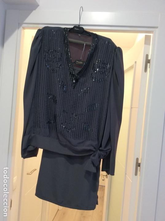 Vintage: Precioso traje dos piezas de seda bordado con lentejuelas y paillets. Años 80 - Foto 8 - 124232927