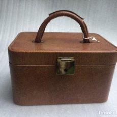 Vintage: NECESER FORRADO EN POLIPIEL COGNAC. Lote 170530000