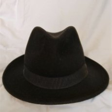 Vintage: SOMBRERO NEGRO FIELTRO MADE IN ITALY 100% WOOD. Lote 173064654