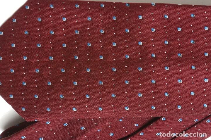 Vintage: Corbata vintage granate con puntos azules, corbata años 60 - Foto 2 - 173196694