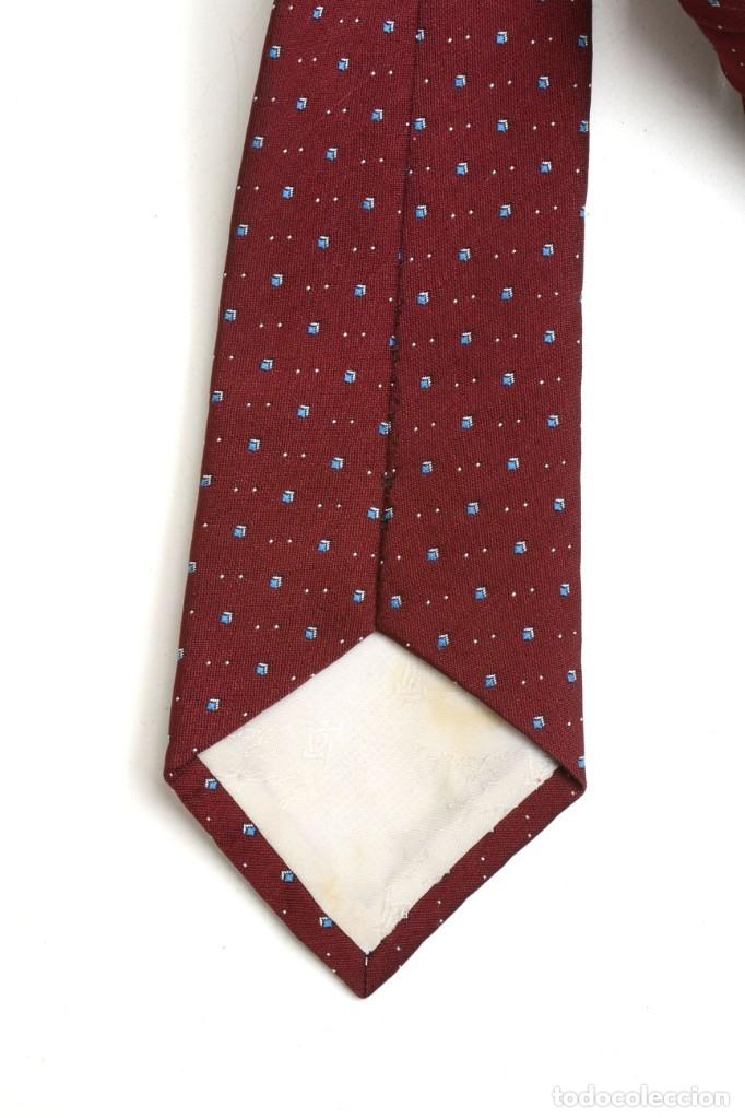 Vintage: Corbata vintage granate con puntos azules, corbata años 60 - Foto 3 - 173196694