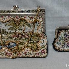 Vintage: BOLSO DE MANO FIESTA Y MONEDERO TIPO TAPIZ VINTAGE . Lote 173517308