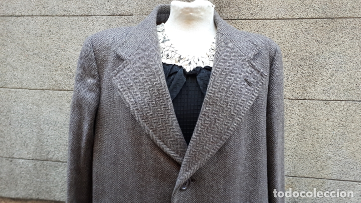 Vintage: ABRIGO HOMBRE AÑOS 60 ESPIGUILLA ( TWEED) MARRÓN OSCURO - Foto 2 - 173832458