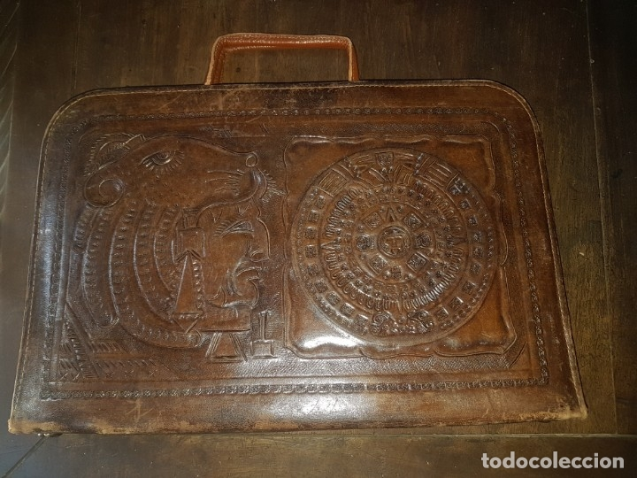 CARTERA DOCUMENTOS PORTAFOLIOS PIEL MOTIVOS AZTECAS (Vintage - Moda - Complementos)