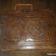 Vintage: CARTERA DOCUMENTOS PORTAFOLIOS PIEL MOTIVOS AZTECAS. Lote 174138382