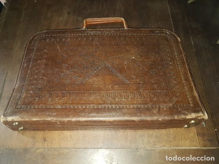 Vintage: Cartera documentos portafolios piel motivos aztecas - Foto 2 - 174138382