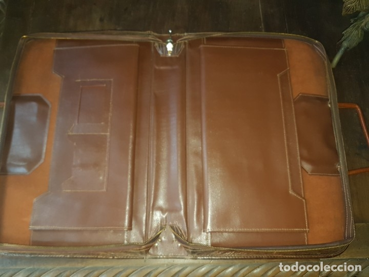 Vintage: Cartera documentos portafolios piel motivos aztecas - Foto 3 - 174138382